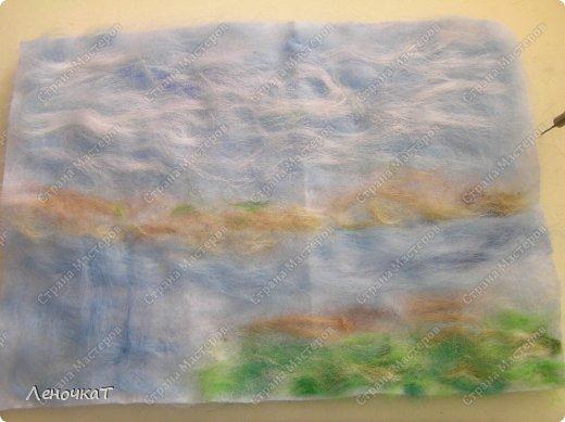 Картина панно рисунок Мастер-класс Валяние фильцевание Берёзовая роща у реки Шерсть фото 7