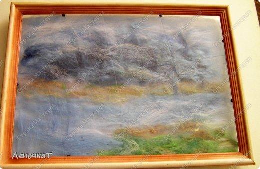 Картина панно рисунок Мастер-класс Валяние фильцевание Берёзовая роща у реки Шерсть фото 8
