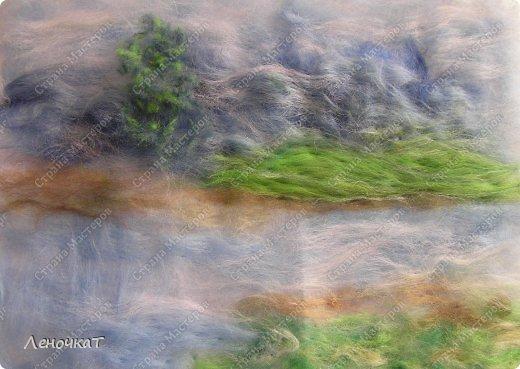 Картина панно рисунок Мастер-класс Валяние фильцевание Берёзовая роща у реки Шерсть фото 9