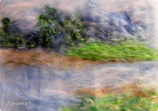 Картина панно рисунок Мастер-класс Валяние фильцевание Берёзовая роща у реки Шерсть фото 10