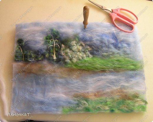 Картина панно рисунок Мастер-класс Валяние фильцевание Берёзовая роща у реки Шерсть фото 11