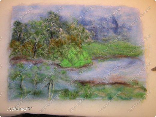 Картина панно рисунок Мастер-класс Валяние фильцевание Берёзовая роща у реки Шерсть фото 12