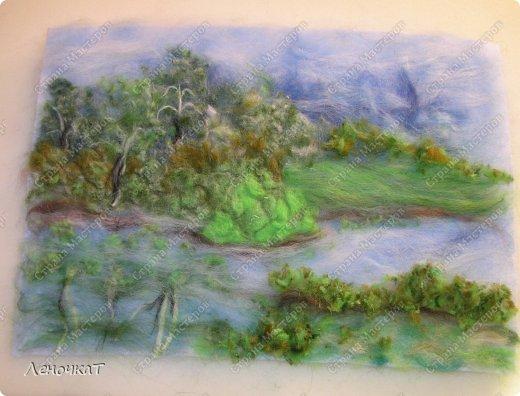 Картина панно рисунок Мастер-класс Валяние фильцевание Берёзовая роща у реки Шерсть фото 13