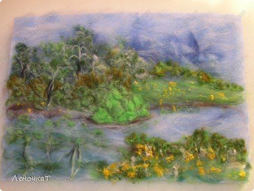 Картина панно рисунок Мастер-класс Валяние фильцевание Берёзовая роща у реки Шерсть фото 14