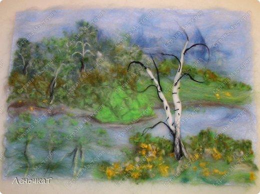Картина панно рисунок Мастер-класс Валяние фильцевание Берёзовая роща у реки Шерсть фото 15