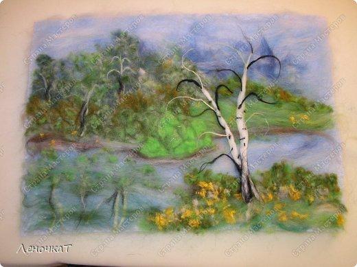 Картина панно рисунок Мастер-класс Валяние фильцевание Берёзовая роща у реки Шерсть фото 16