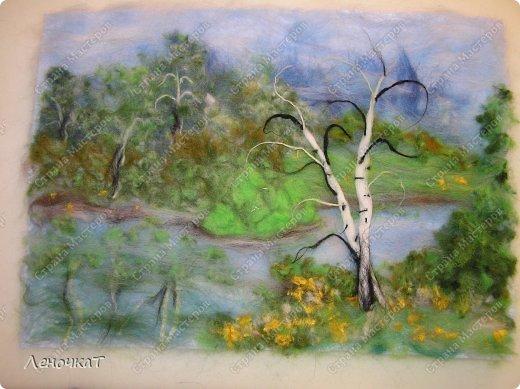 Картина панно рисунок Мастер-класс Валяние фильцевание Берёзовая роща у реки Шерсть фото 17
