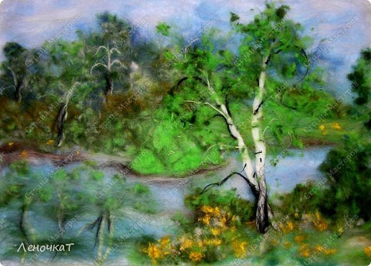 Картина панно рисунок Мастер-класс Валяние фильцевание Берёзовая роща у реки Шерсть фото 1