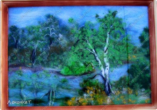 Картина панно рисунок Мастер-класс Валяние фильцевание Берёзовая роща у реки Шерсть фото 19