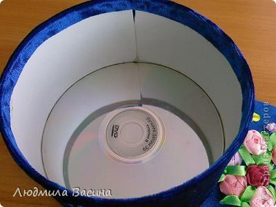 Мастер-класс Поделка изделие 8 марта День матери День рождения Вышивка Шитьё МК Изготовление шкатулки с использованием дисков Бусины Диски компьютерные Картон Ленты Ткань фото 14