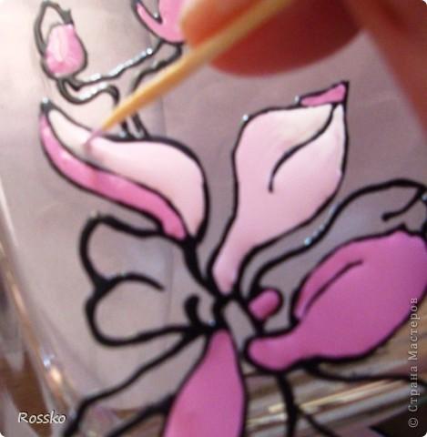 Декор предметов Мастер-класс Витраж Роспись Роспись вазы глухими витражными красками Краска Стекло фото 15