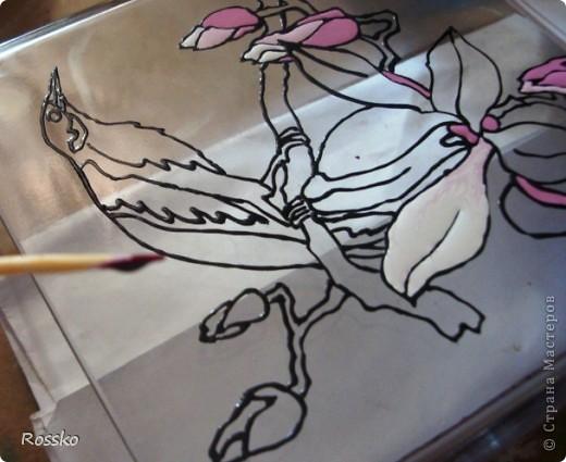 Декор предметов Мастер-класс Витраж Роспись Роспись вазы глухими витражными красками Краска Стекло фото 19