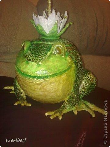 Поделка изделие День рождения Лепка Царевна-лягушка конфетница Гипс Клей Краска Скорлупа яичная фото 1