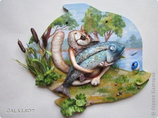 Картина панно рисунок 23 февраля Лепка Ловись рыбка большаааяяя   Гипс Тесто соленое фото 1