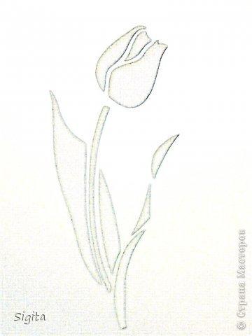 Картина панно рисунок 8 марта День матери День рождения Вырезание Тюльпан Копия Бумага фото 3