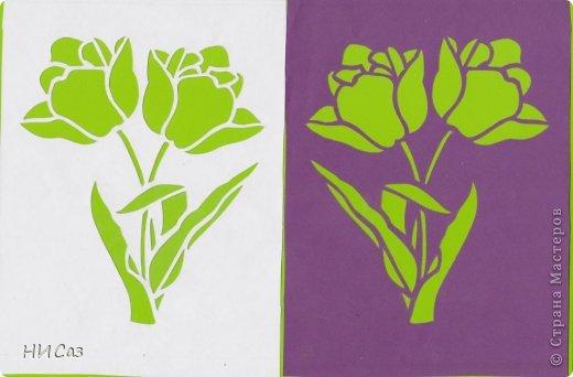 Картина панно рисунок Вырезание Тюльпаны Бумага фото 3