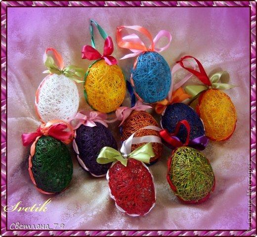 Яйца из ниток для пасхального декора (мастер-класс)