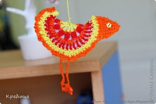 Игрушка Поделка изделие Вязание крючком Птички счастья Нитки Пуговицы