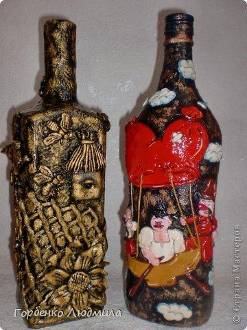 Декор предметов Лепка Бутылки Казаки и Медовые соты Салфетки Тесто соленое фото 1