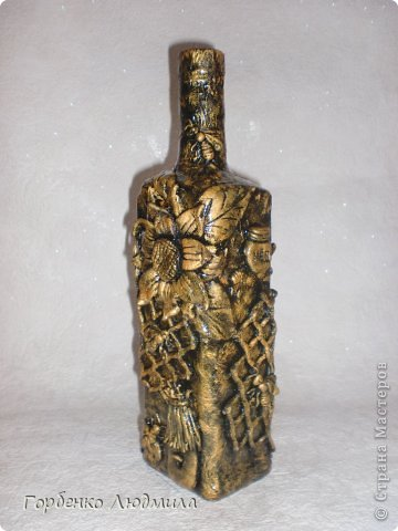 Декор предметов Лепка Бутылки Казаки и Медовые соты Салфетки Тесто соленое фото 5