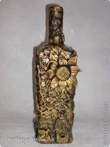 Декор предметов Лепка Бутылки Казаки и Медовые соты Салфетки Тесто соленое фото 3
