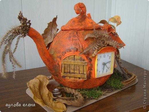 Поделка изделие Праздник осени Папье-маше Тыква-часы Бумага газетная Клей Материал природный фото 2