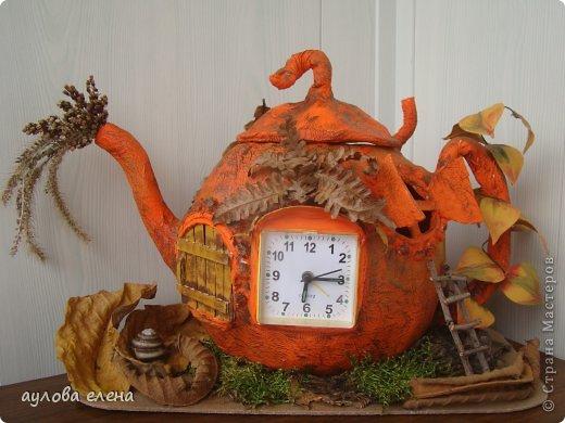 Поделка изделие Праздник осени Папье-маше Тыква-часы Бумага газетная Клей Материал природный фото 1