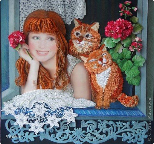 Картина панно рисунок Квиллинг Счастье -   Бумага Бумажные полосы фото 1