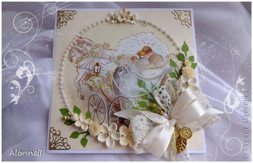 Открытка Свадьба Квиллинг Свадебные открытки Бисер Бумага Бумажные полосы Бусинки Кружево фото 1