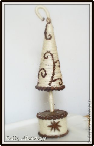Мастер-класс Новый год Моделирование конструирование МК Ёлка с рисунком молотым кофе Кофе Шпагат фото 1
