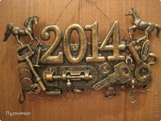 Декор предметов Мастер-класс Новый год Аппликация Ассамбляж Номерок на ГОД Клей Краска фото 1