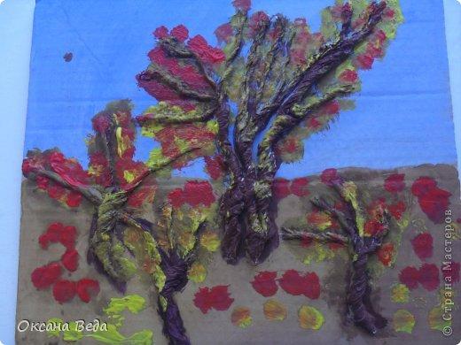 Мастер-класс Начало учебного года Аппликация Рисование и живопись 2 класс Осеннее дерево Гуашь Картон Клей Салфетки фото 11