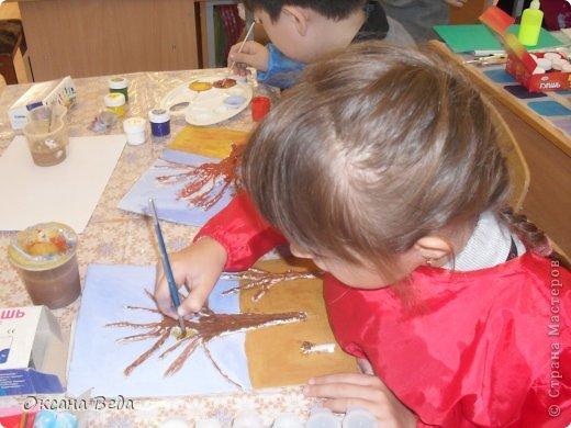 Мастер-класс Начало учебного года Аппликация Рисование и живопись 2 класс Осеннее дерево Гуашь Картон Клей Салфетки фото 10