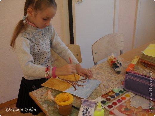 Мастер-класс Начало учебного года Аппликация Рисование и живопись 2 класс Осеннее дерево Гуашь Картон Клей Салфетки фото 9