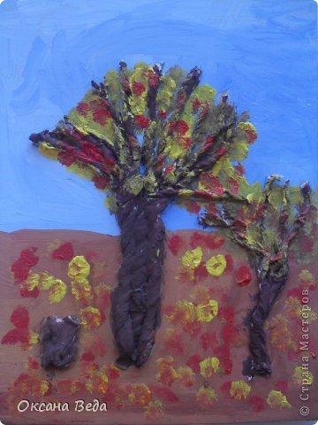 Мастер-класс Начало учебного года Аппликация Рисование и живопись 2 класс Осеннее дерево Гуашь Картон Клей Салфетки фото 12