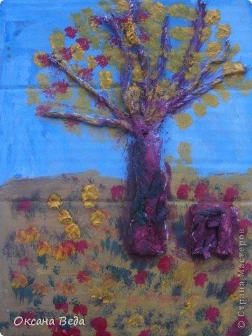 Мастер-класс Начало учебного года Аппликация Рисование и живопись 2 класс Осеннее дерево Гуашь Картон Клей Салфетки фото 14