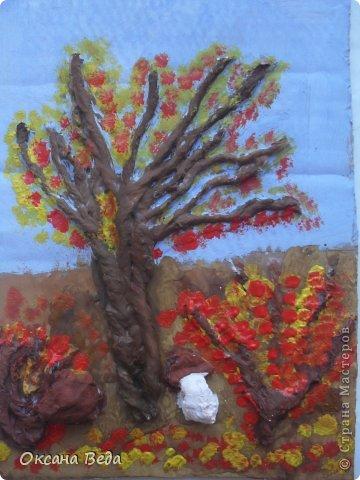 Мастер-класс Начало учебного года Аппликация Рисование и живопись 2 класс Осеннее дерево Гуашь Картон Клей Салфетки фото 15