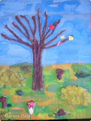 Мастер-класс Начало учебного года Аппликация Рисование и живопись 2 класс Осеннее дерево Гуашь Картон Клей Салфетки фото 18