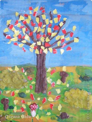 Мастер-класс Начало учебного года Аппликация Рисование и живопись 2 класс Осеннее дерево Гуашь Картон Клей Салфетки фото 19