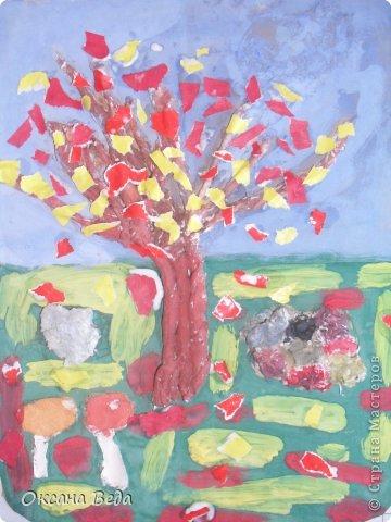 Мастер-класс Начало учебного года Аппликация Рисование и живопись 2 класс Осеннее дерево Гуашь Картон Клей Салфетки фото 21