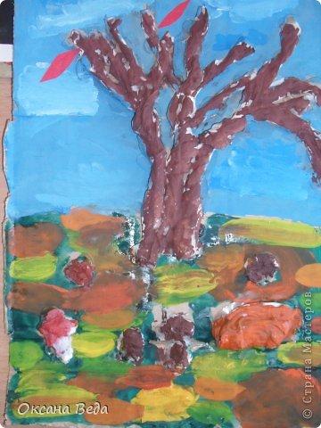 Мастер-класс Начало учебного года Аппликация Рисование и живопись 2 класс Осеннее дерево Гуашь Картон Клей Салфетки фото 22