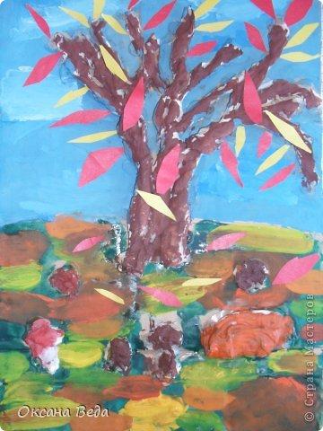 Мастер-класс Начало учебного года Аппликация Рисование и живопись 2 класс Осеннее дерево Гуашь Картон Клей Салфетки фото 1