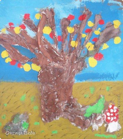 Мастер-класс Начало учебного года Аппликация Рисование и живопись 2 класс Осеннее дерево Гуашь Картон Клей Салфетки фото 17
