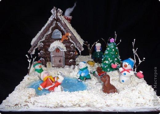 Макет модель Поделка изделие Новый год Рождество Лепка Папье-маше Зимний дворик Бумага Вата Краска Фарфор холодный фото 1