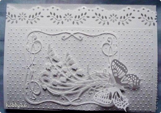 Открытка Аппликация Тиснение Их белоснежные соцветья так целомудренно чисты  Бумага Картон Клей фото 2