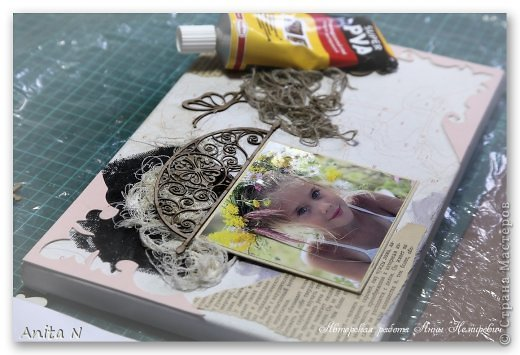 Картина панно рисунок Мастер-класс Скрапбукинг Ассамбляж МК коллаж на холсте фото 3