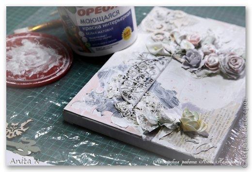 Картина панно рисунок Мастер-класс Скрапбукинг Ассамбляж МК коллаж на холсте фото 5