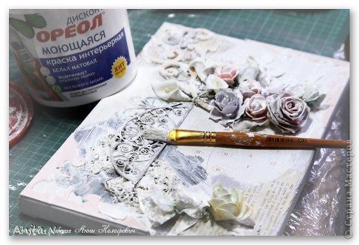 Картина панно рисунок Мастер-класс Скрапбукинг Ассамбляж МК коллаж на холсте фото 6