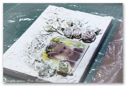 Картина панно рисунок Мастер-класс Скрапбукинг Ассамбляж МК коллаж на холсте фото 8