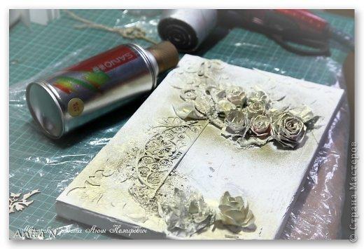 Картина панно рисунок Мастер-класс Скрапбукинг Ассамбляж МК коллаж на холсте фото 9